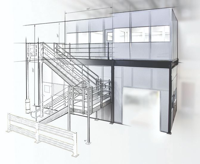Pre-Engineered Two-Story Inplant Building Sketch - PortaFab Modular Building Systems