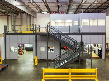 Two-Story Modular Building System for Printing Machine Enclosure - PortaFab Case Study