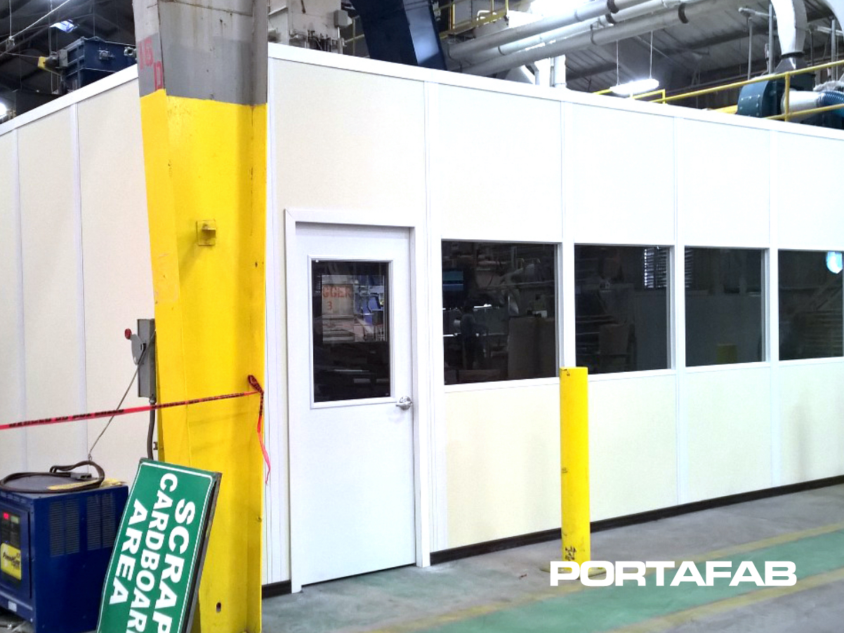 Modular Break Room with Storage, in plant building, modular in plant building, modular building in warehouse