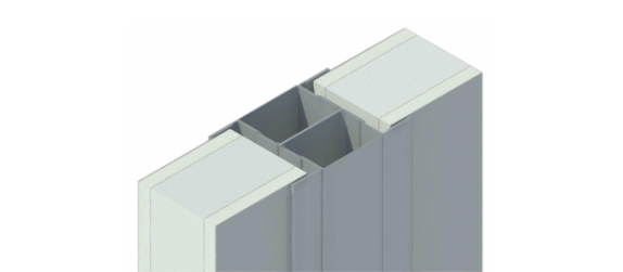 cross-section diagram of insulated booth wall