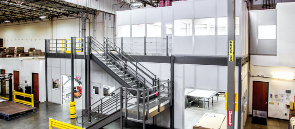 two story in plant building, modular warehouse building, modular two story building, warehouse office on mezzanine
