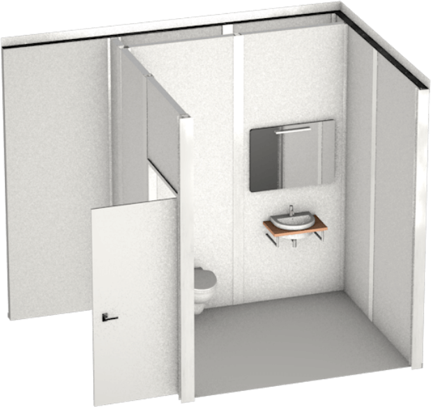 example of bathroom facility in booth