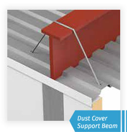 Dust cover support beam