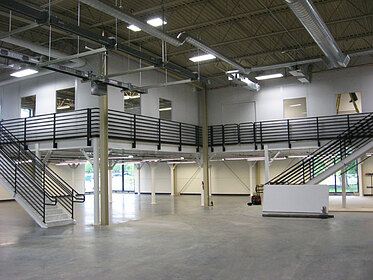 modular office on mezzanine, modular building on mezzanine, mezzanine building, warehouse mezzanine building