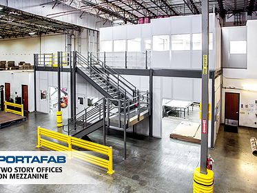 Two-Story Offices On Mezzanine - PortaFab Modular Buildings