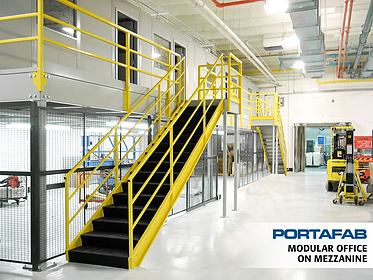 Modular Office on Mezzanine - PortaFab Modular Building Systems