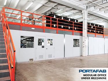 Modular Office Under Mezzanine - PortaFab Modular Building Systems